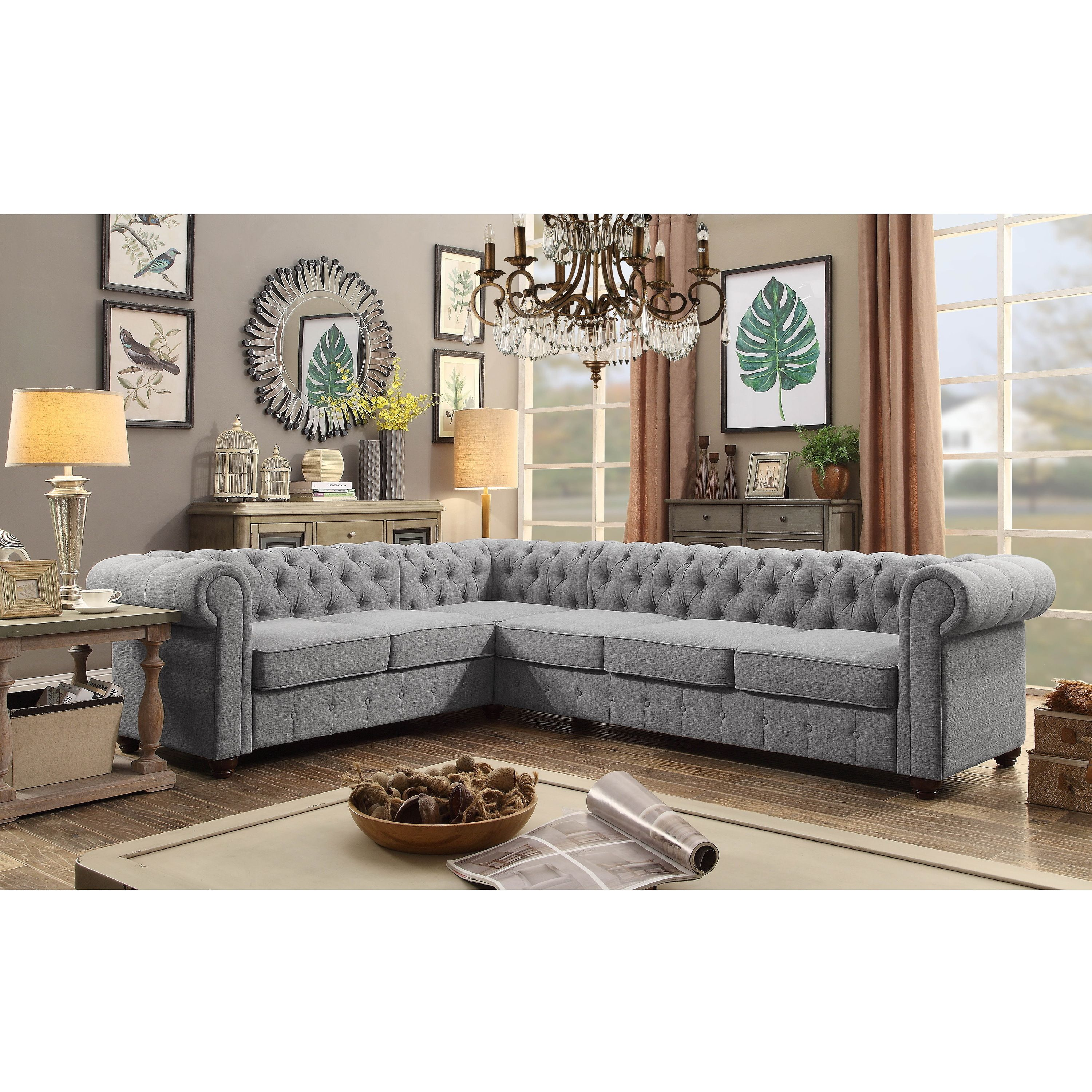 Moser Bay Furniture Linen 6 seat Sectional Sofa Set