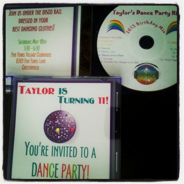 custom cd invitations for dance bday party Pre party favor and