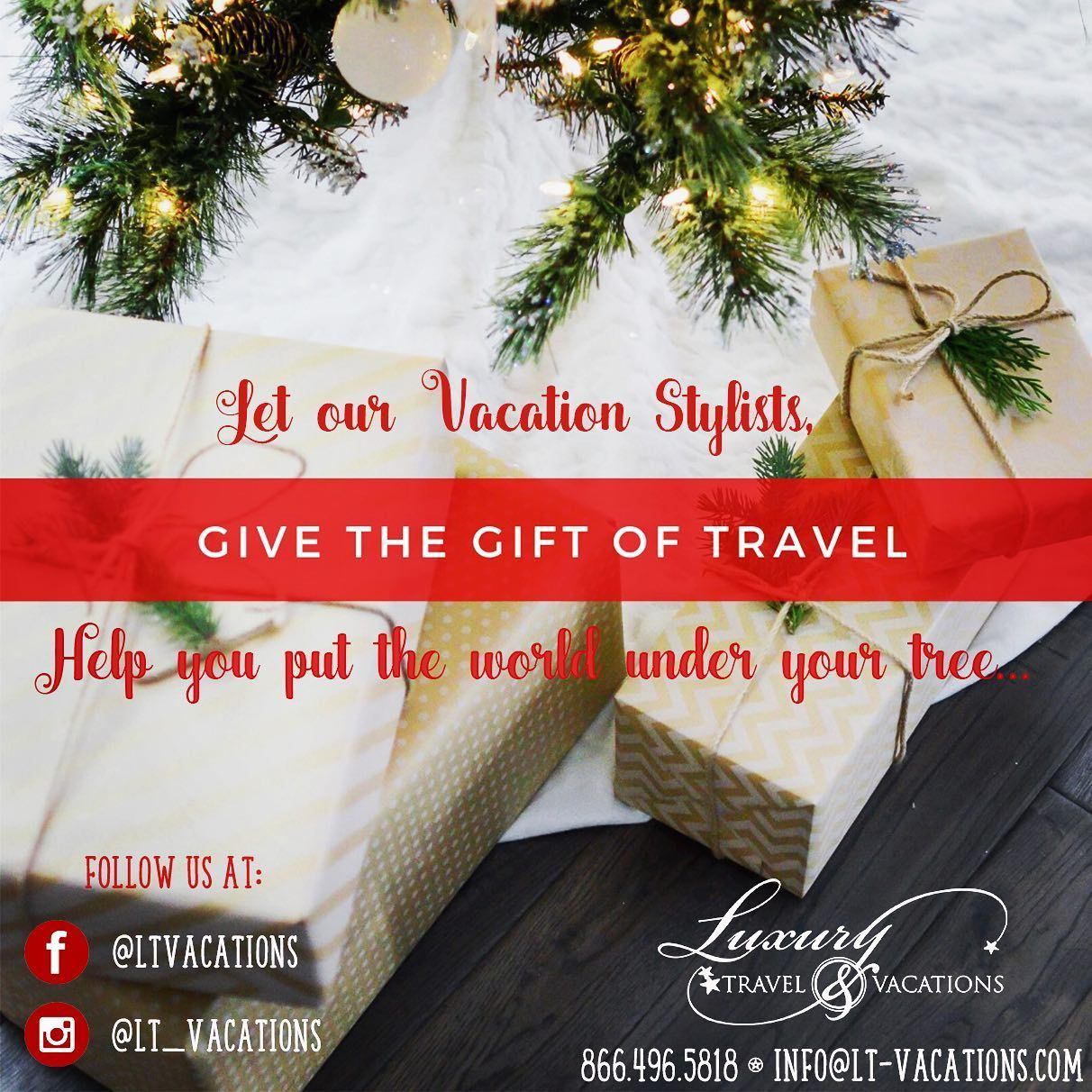 Searching for the perfect gift, look no further... . . . #giftoftravel #travelgift #giftsforhim #giftsforher #Travel #giftcertificate #traveltogether #familytravel #takethetrip #ltvacations #theplaceswego #christmasgift #christmasgiftideas #gifting #giftingtravel