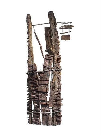 El Anatsui - Sculpture I, Camel thorn wood and... on MutualArt.com