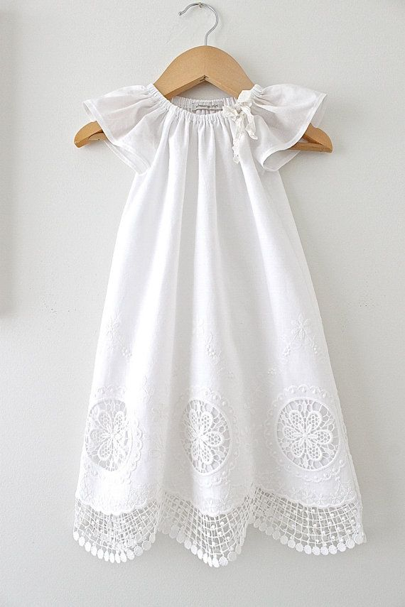 Baby Girl Long Baptism Dress-Antique White and Lace Cotton Vintage ...