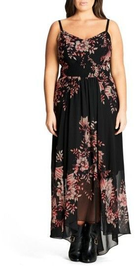 7f1704e3e4d2 Plus Size Women's City Chic Antique Floral Chiffon High/low Maxi Dress