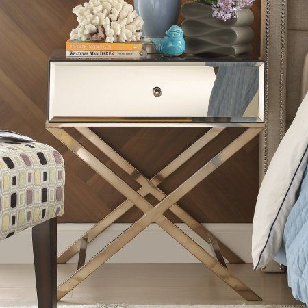 Buy Chelsea Lane Plated Mirror End Table With Drawer, Champagne Gold At