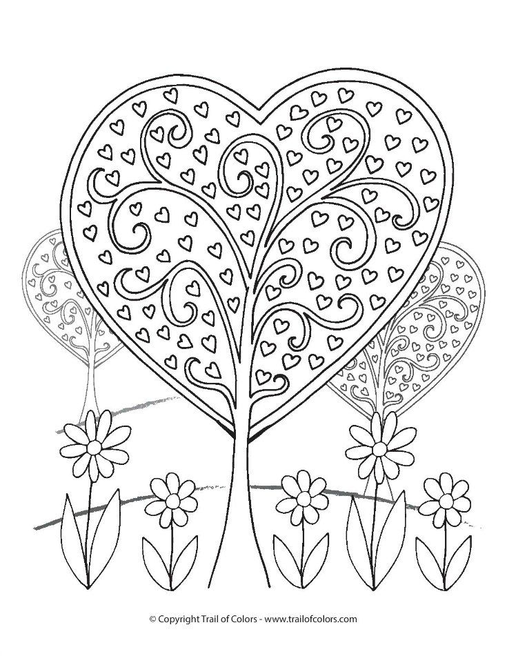 Heart Trees Valentines Day Coloring Page Valentines Day Coloring