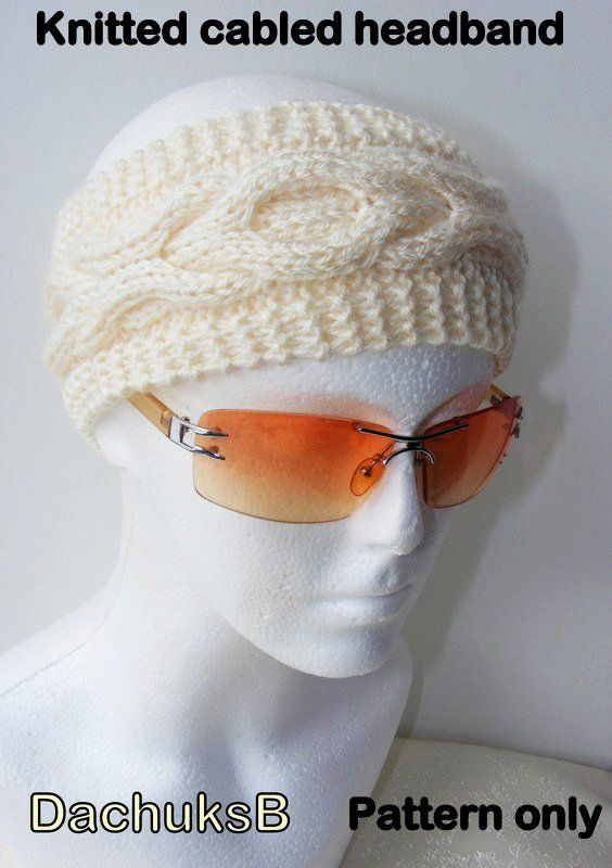 PDF pattern for hand knitted cabled headband ear warmer | Knitting ...