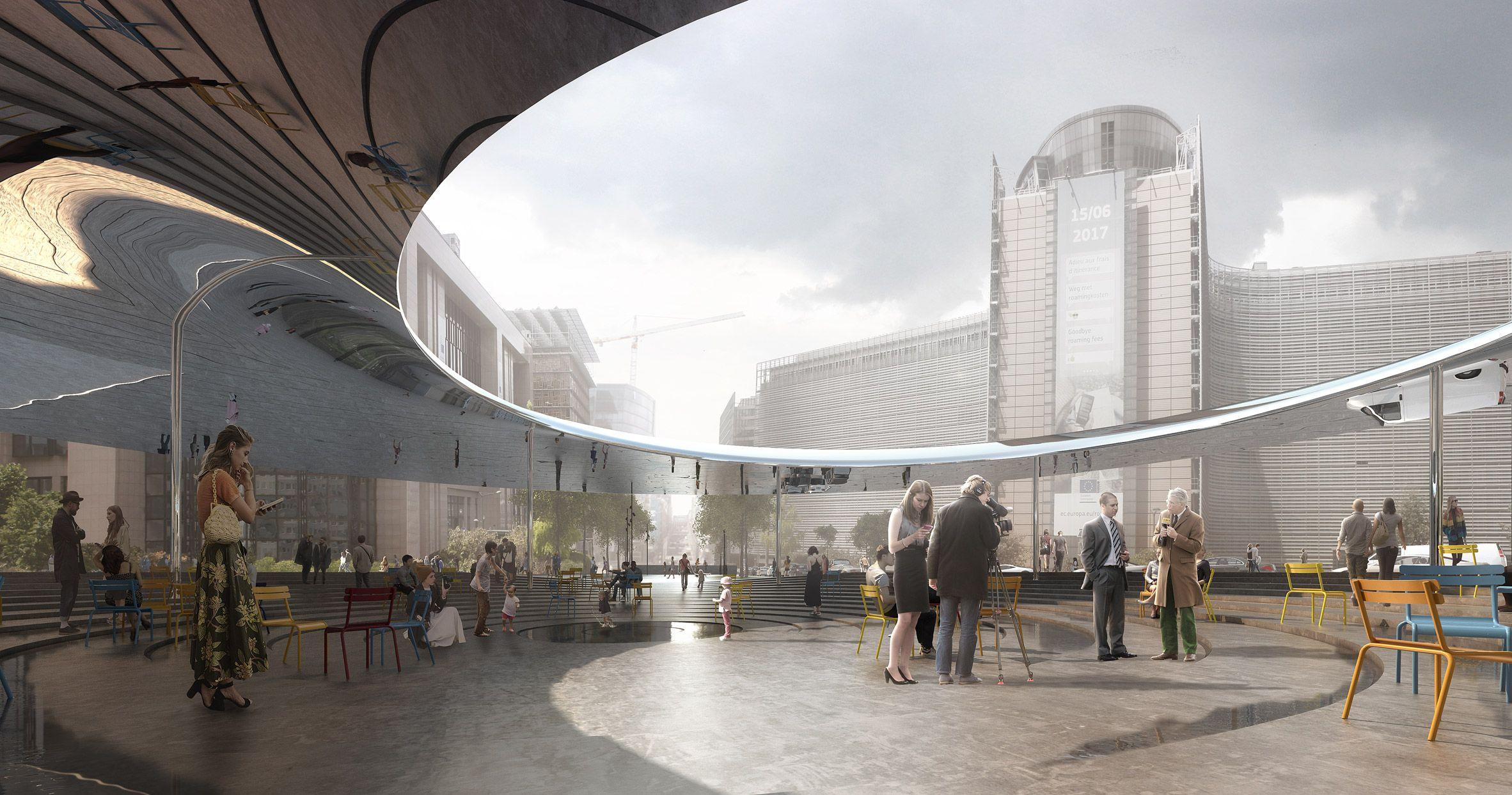 A Reflective Metal Canopy Described By The Architects As Funnel Shaped Will Frame The New Space Canopy Outdoor Canopy Design Hotel Canopy