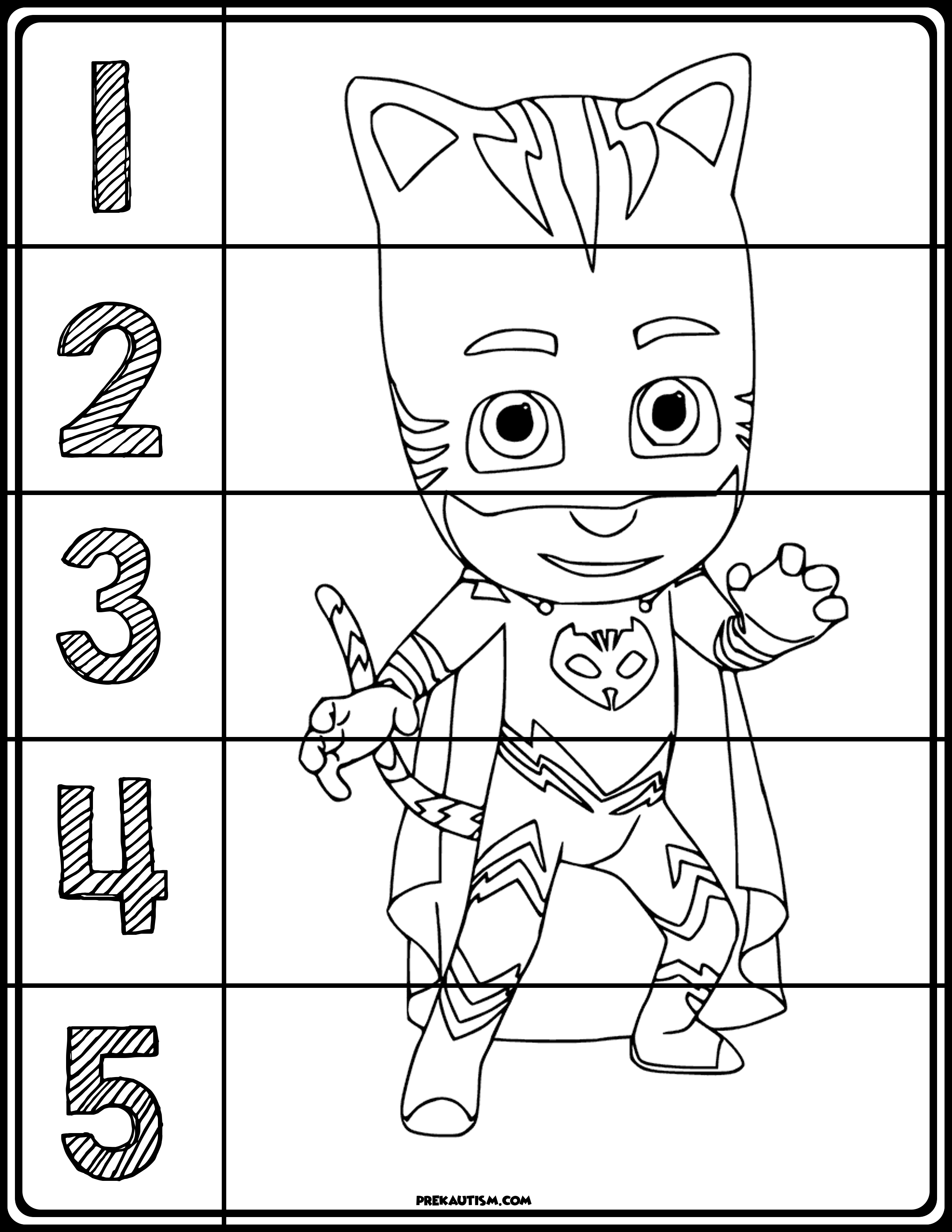 PJ Masks Coloring Number Puzzles