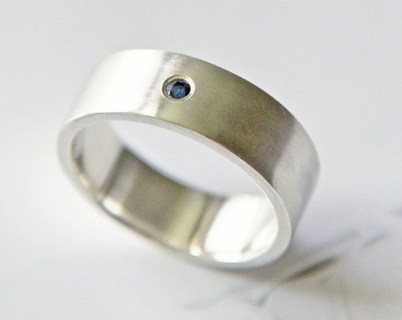 men's wedding band  engagement ring  blue sapphire by lolide, $158.00