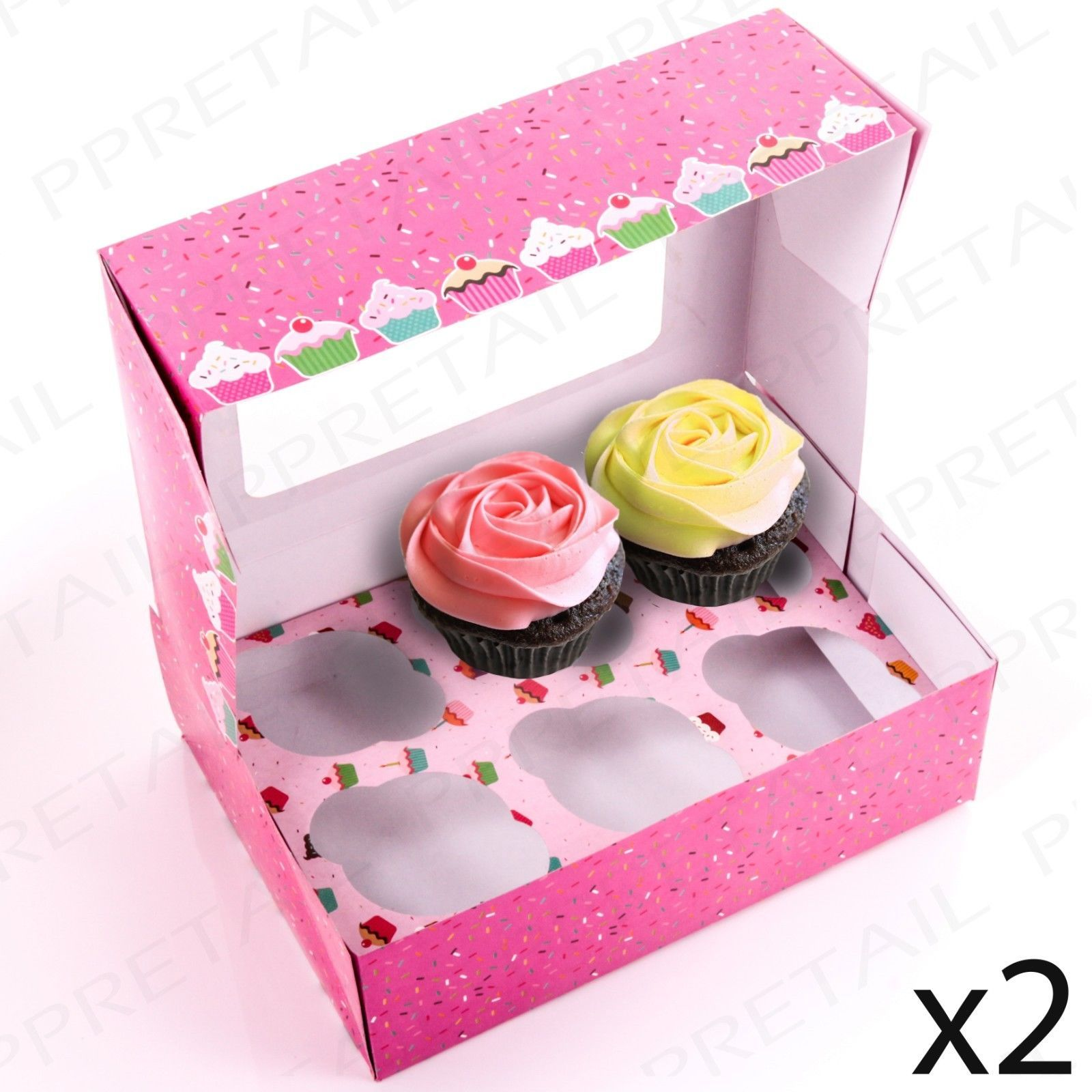 2 x deep cupcake #boxes + inserts #holders #cake/fairy/muffin/tray ...