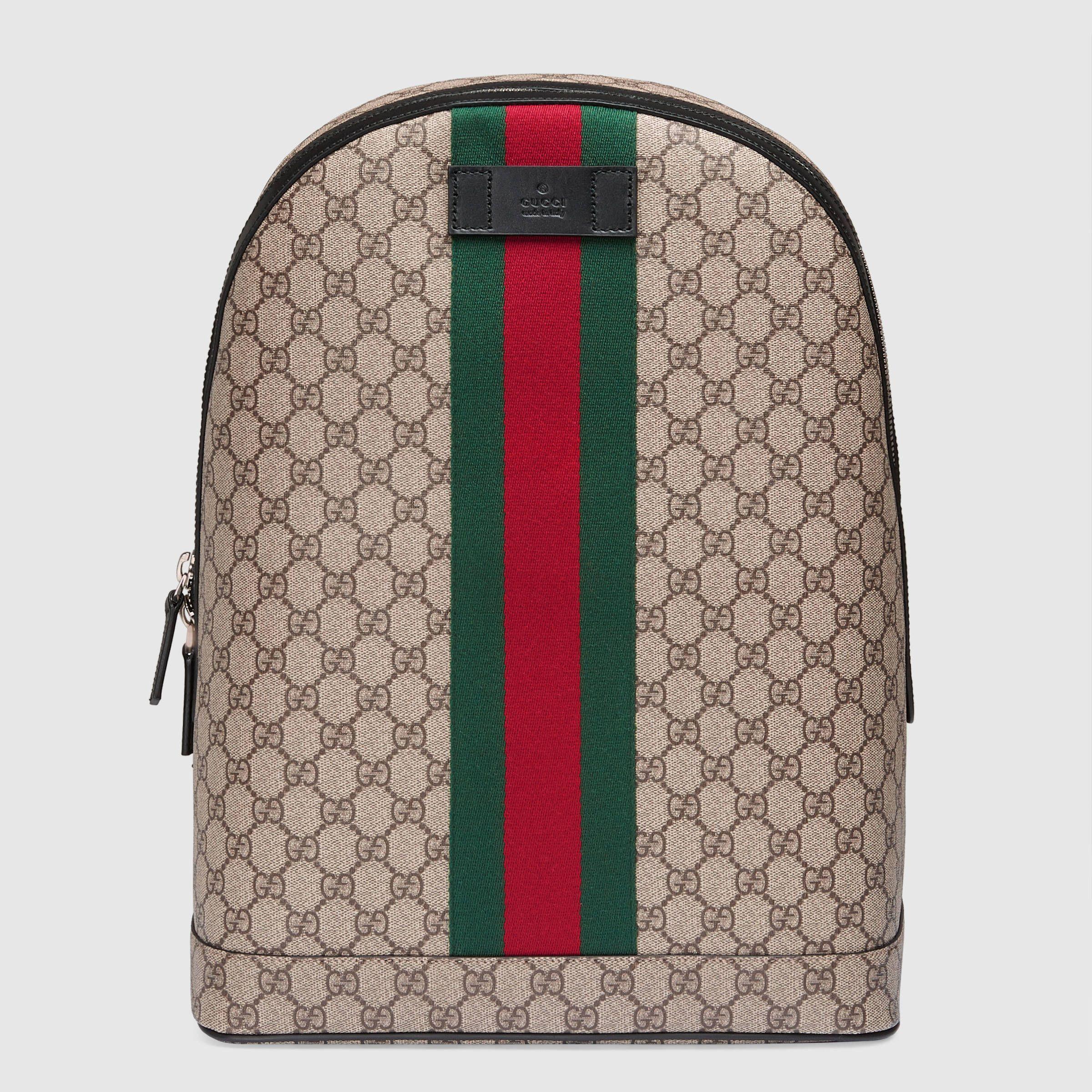 Gucci Men - GG Supreme backpack with Web - 442722K2LVN9692 ... 35dd525ffff26