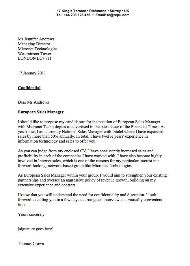 example of a business cover letters