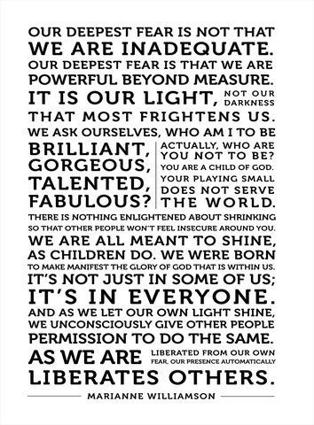 Our Deepest Fear Marianne williamson, Quote canvas and - what is your greatest fear