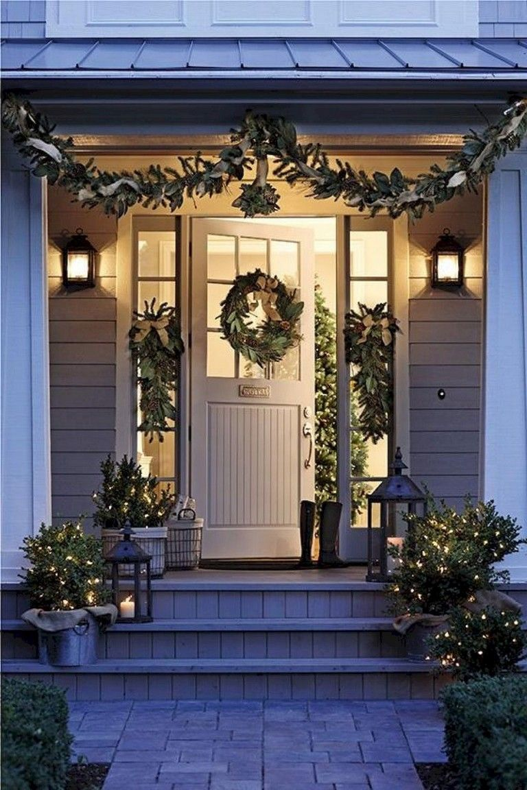 55 luxury farmhouse front porch decor ideas christmas