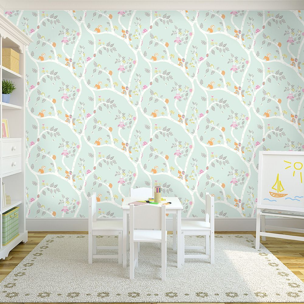 Woodland Adventure Wallpaper Soft Teal Holden 12490 Teal  # Muebles Camarillo