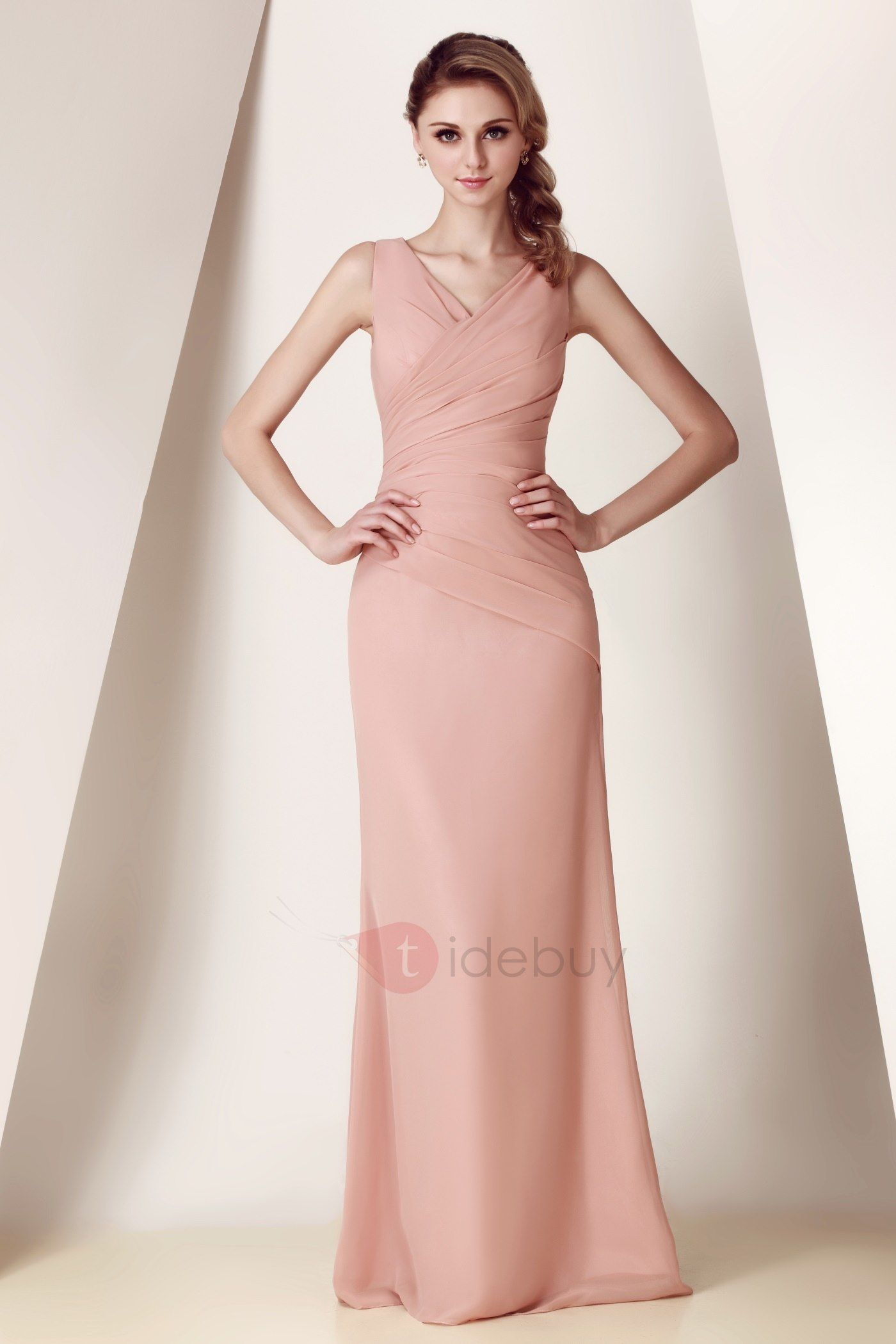 Elegante Vestido sin Tirantes Cuello en V con Largo al Piso Dasha\'s ...