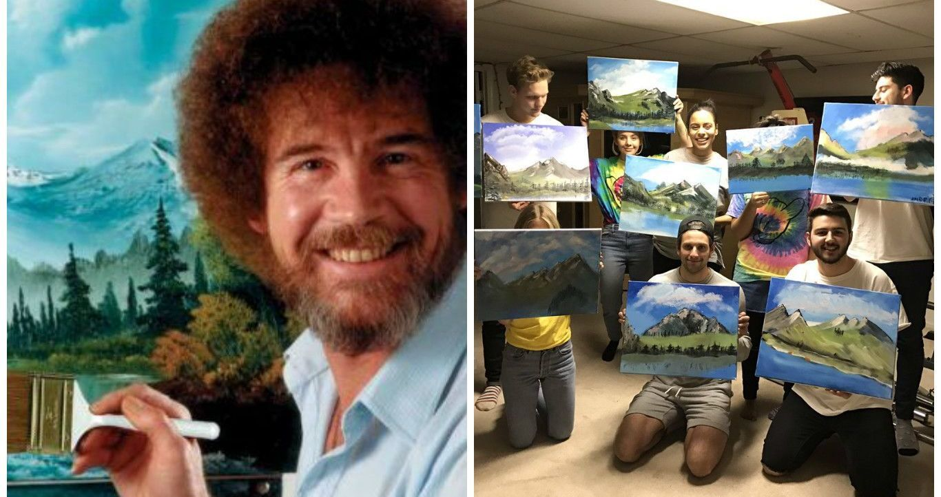 Bob Ross Parties Are Sweeping The World And Giving People A Great New Way To Relax With Friends Find Out More H Bob Ross Birthday Bob Ross Bob Ross Paintings