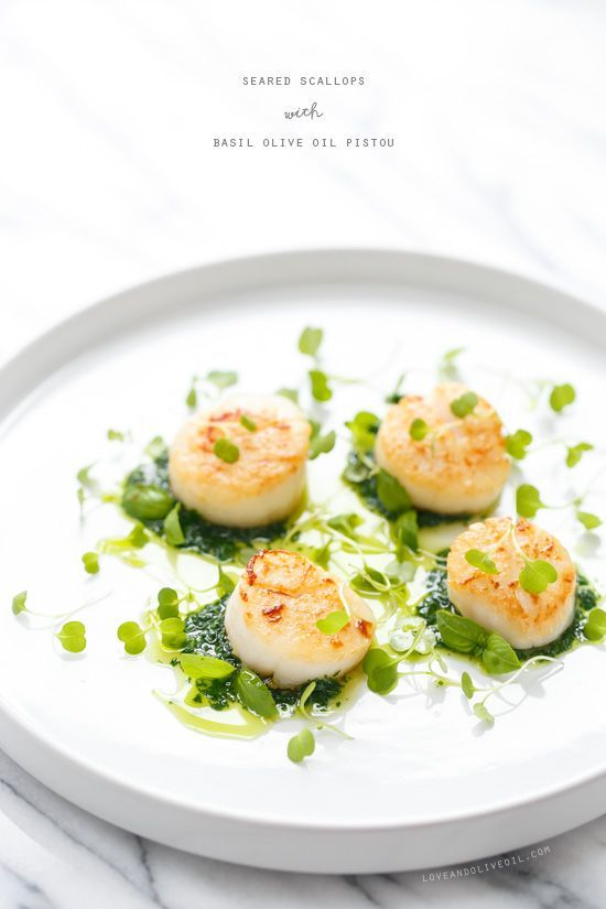 Seared Scallops with Basil Olive Oil Pistou #oliveoils
