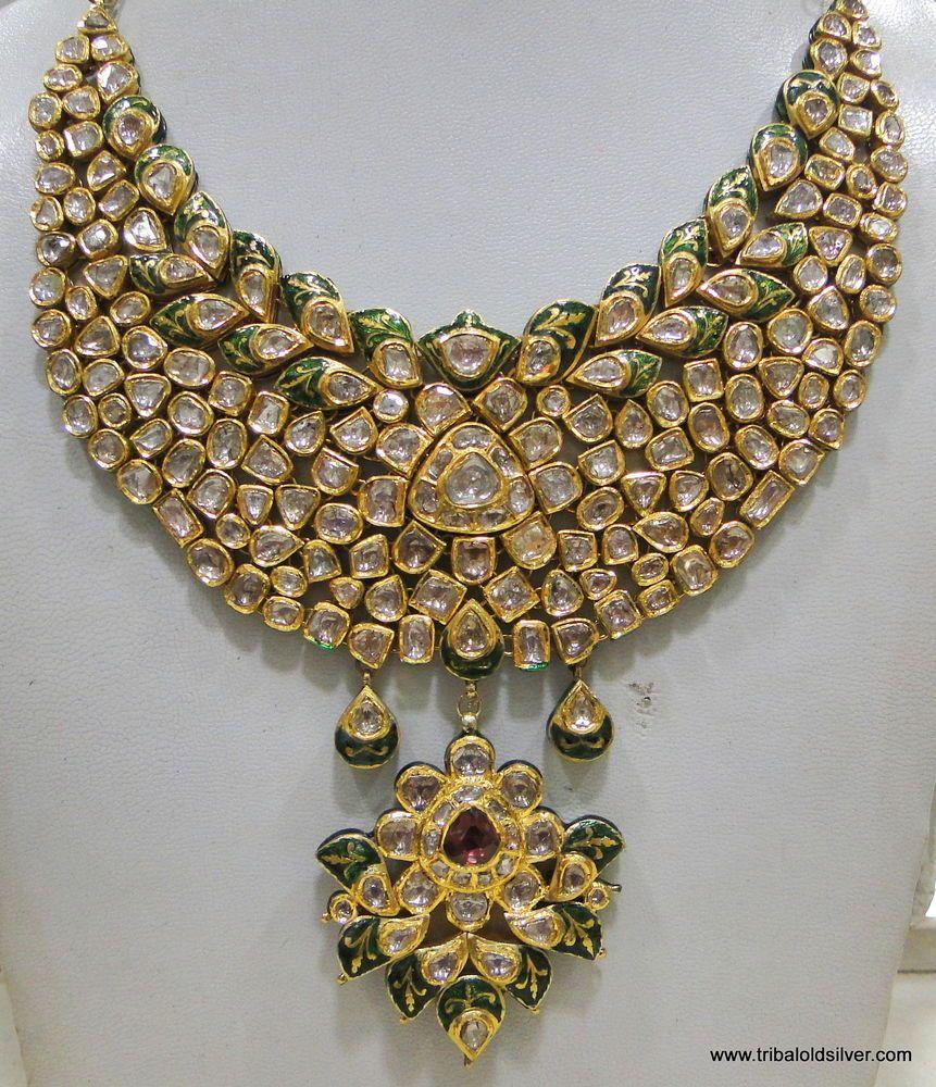 VINTAGE ANTIQUE 20K GOLD DIAMOND POLKI KUNDAN ENAMEL MEENAKARI ...