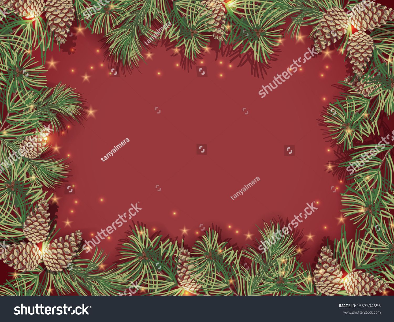 Border Of Green Christmas Tree Branches And Pine Cones On Red Background Sparkling Holiday Lights A Green Christmas Tree Christmas Tree Branches Tree Branches