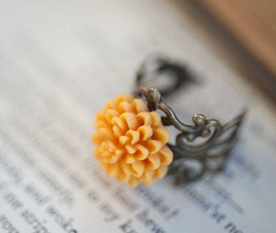 Butternut Yellow Flower Ring Dahlia Flower By Notonesparrow 12 00 Yellow Flower Ring Flower Ring Yellow Flowers