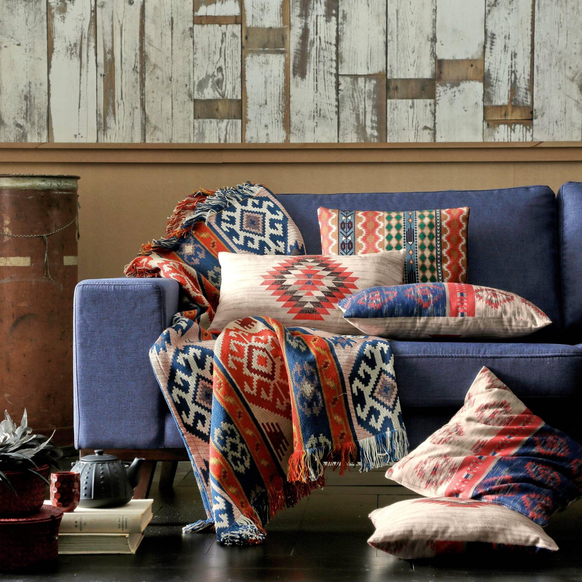 plaid ou jet de canap polycoton jacquard motif navajo. Black Bedroom Furniture Sets. Home Design Ideas