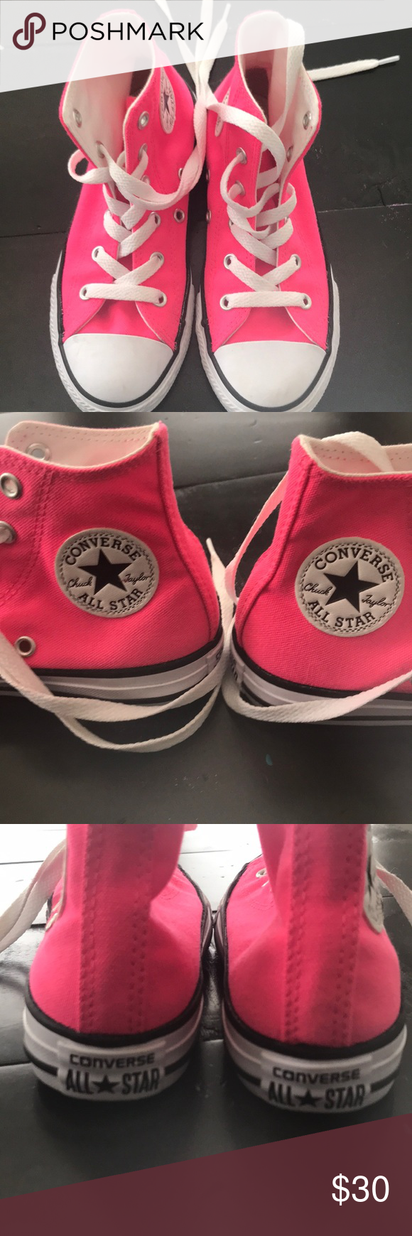 3c71a542e76d Girls hot pink converse Girls hot pink converse shoes. Size 13. Worn once  for a dance recital. Only worn indoors. Converse Shoes Sneakers