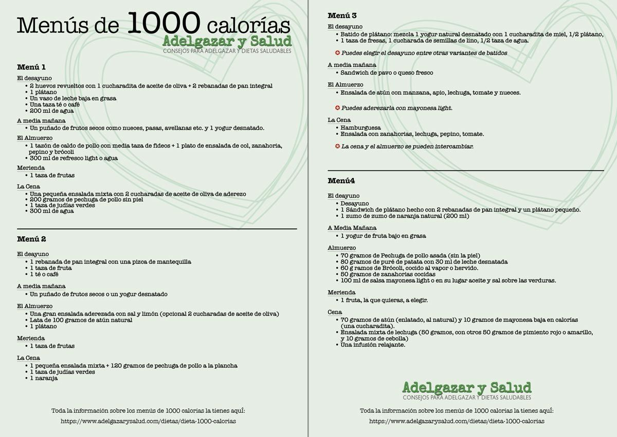 Dieta De 1000 Calorías Diarias Con Sus Menus Compeletos Https Www Adelgazarysalud Com Dietas Dieta 1000 Calorias Utm Dieta 1200 Calorias 1200 Calorias Dieta