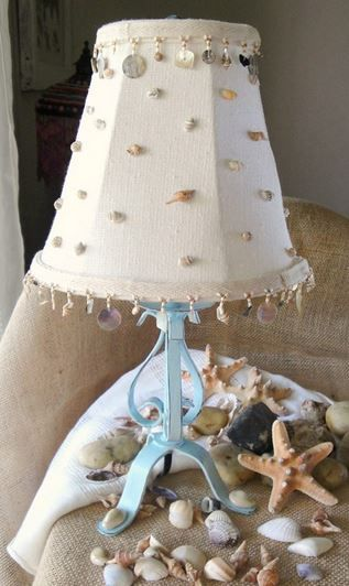 Beach Lamp Made Out Of An Old Black One Beach Lamps Diy Lamp