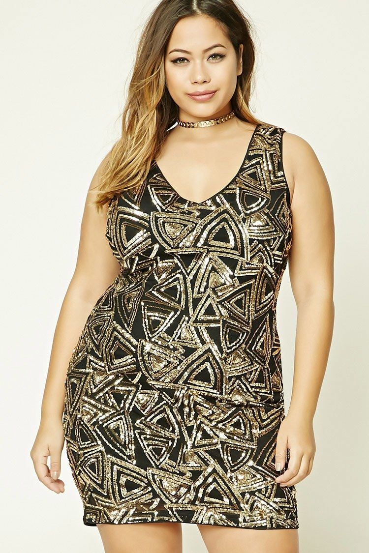 awesome amazing forever 21 plus size black gold geo sequin dress