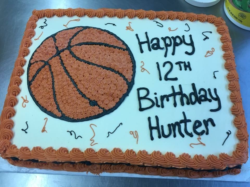 Birthday Cake Sheet Cake Basketball And Streamers Sheet Cake