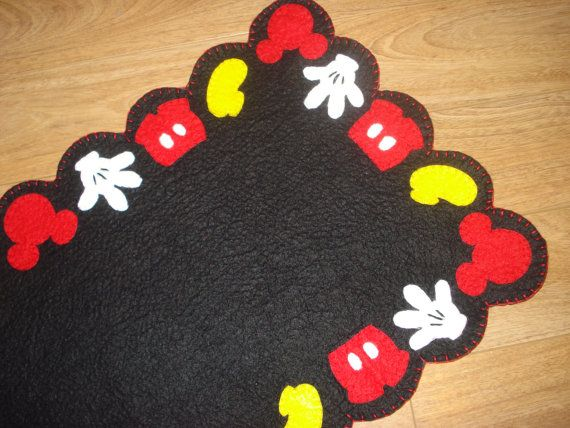 Penny Rug Mickey Mouse Inspired Table Runner 55 Inches Long Red Yellow White Black Buffet Display