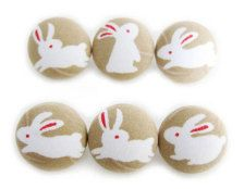 Fabric Covered Buttons - Rabbits on Tan - 6 Medium Buttons