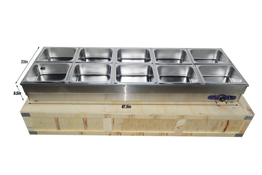 Techtongda 10pan Hot Well Steam Table Food Warmer Stainless Steel 10pansandlids Check Out T Steam Tables Kitchen Cookware Sets Kitchen Storage Organization