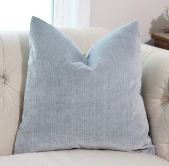 Light Blue Pillow Silver Blue Striped Velvet Pillow Cover Etsy Light Blue Pillows Blue Throw Pillows Light Blue Throw Pillows