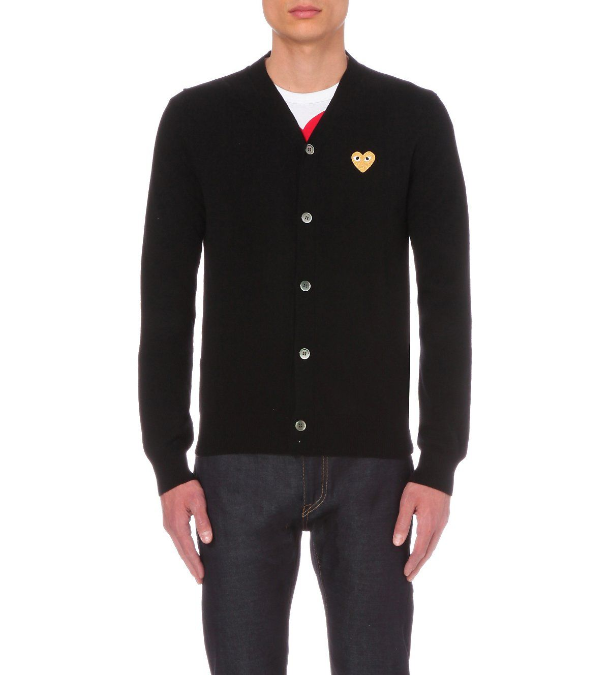 COMME DES GARCONS PLAY - play gold heart wool cardigan ...