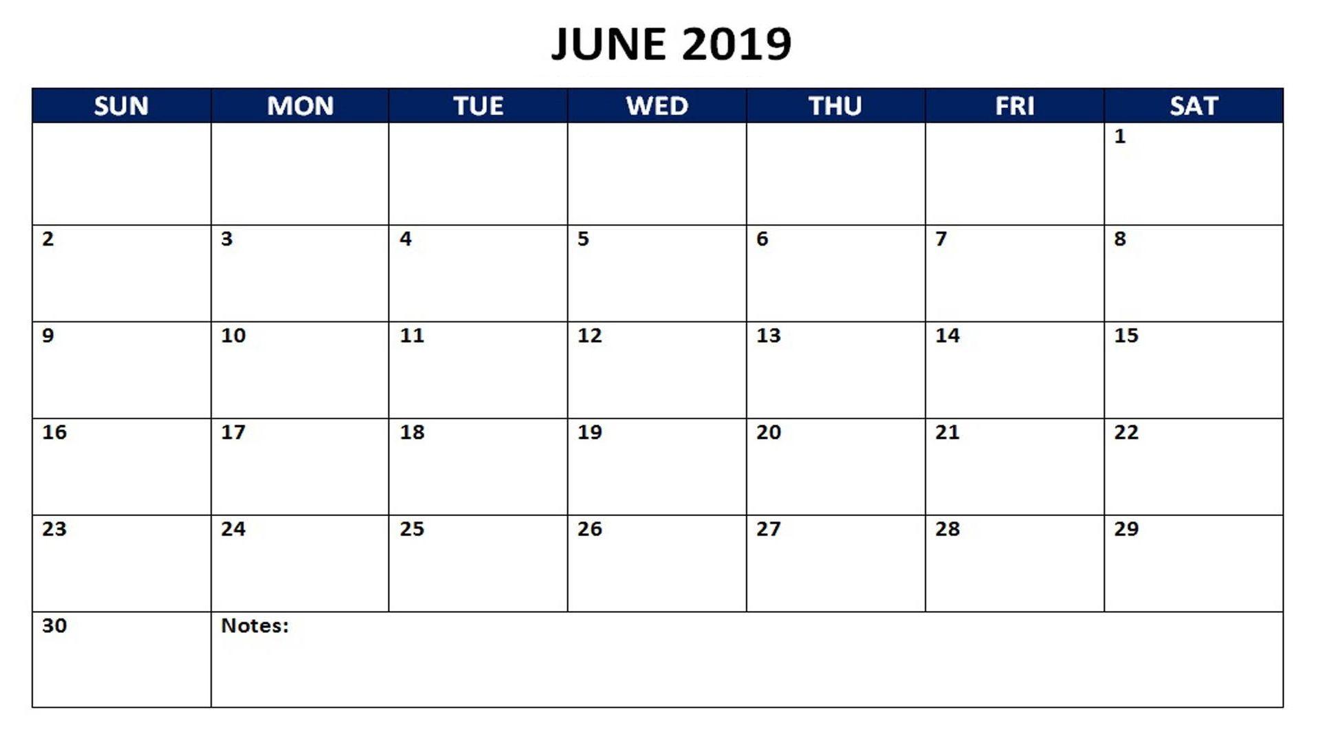 June Calendar 2019 Printable Notes And To Do List Calendar