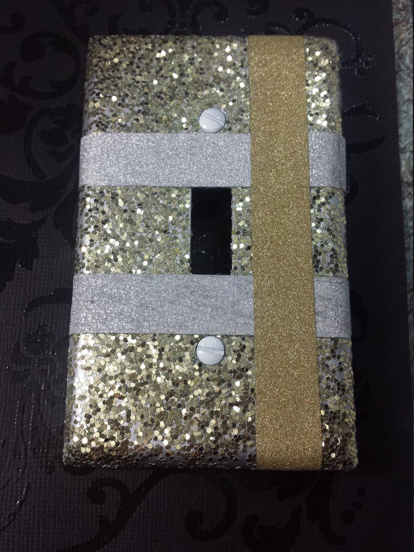 Shiny Metallic Yellow Gold Silver Platinum Striped Glitter Decorative Light Switch Plates And Outlet Cov Light Switch Plates Light Switch Covers Custom Decor