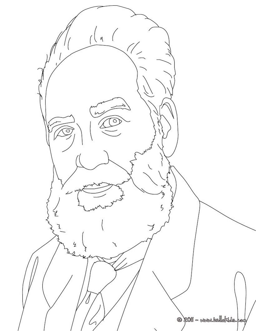 Sir Alexander Graham Bell Coloring Page Coloring Books People