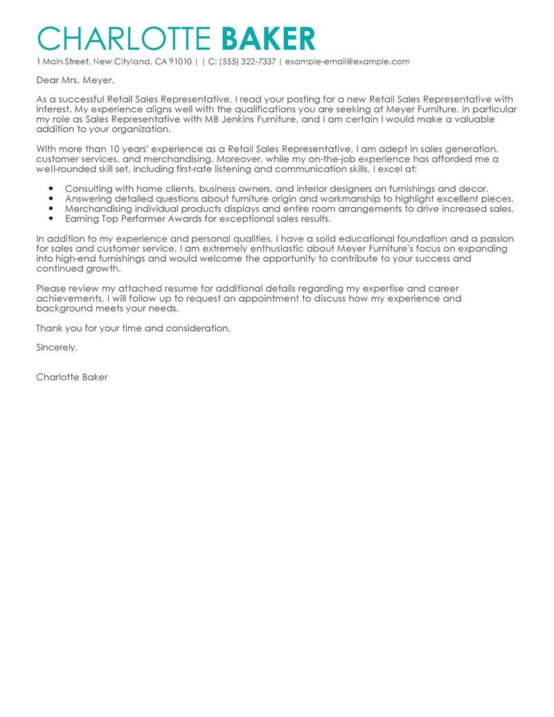 Cover Letter For Retail Sales Reference Letter For Student Professional Cover Letter Template Writing A Cover Letter