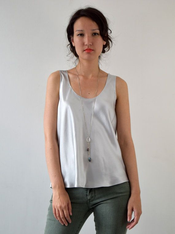 Silver Silk Satin Camisole Vest Tank Top In by KimCleaver on Etsy
