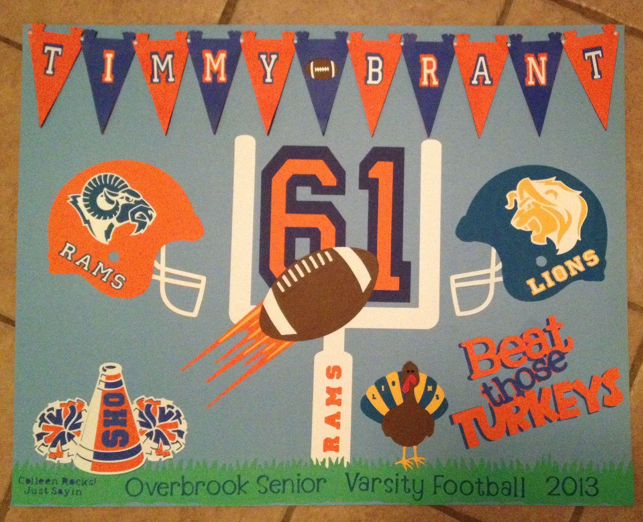 Football Poster Colleen Mcguriman Football Team Spirit Football Homecoming Football Poster