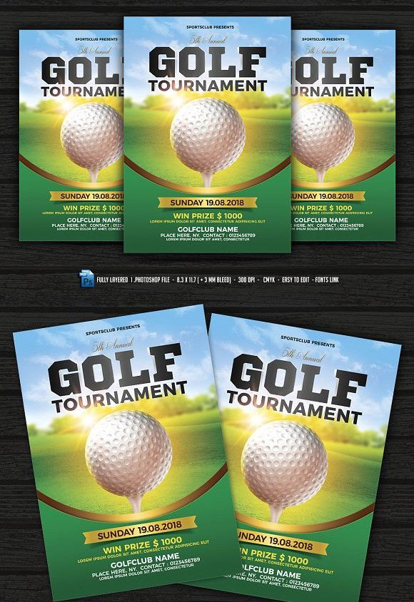 Golf Tournament Flyer Flyer template, Template and Adobe