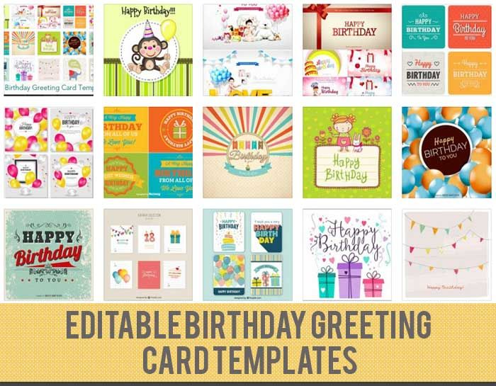 15 Birthday Card Template Files to Download Free party ideas