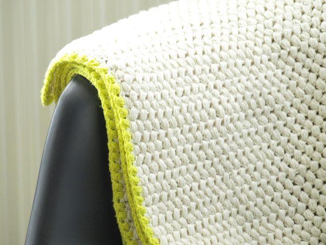 Hæklet tæppe i puffstitches - DIY