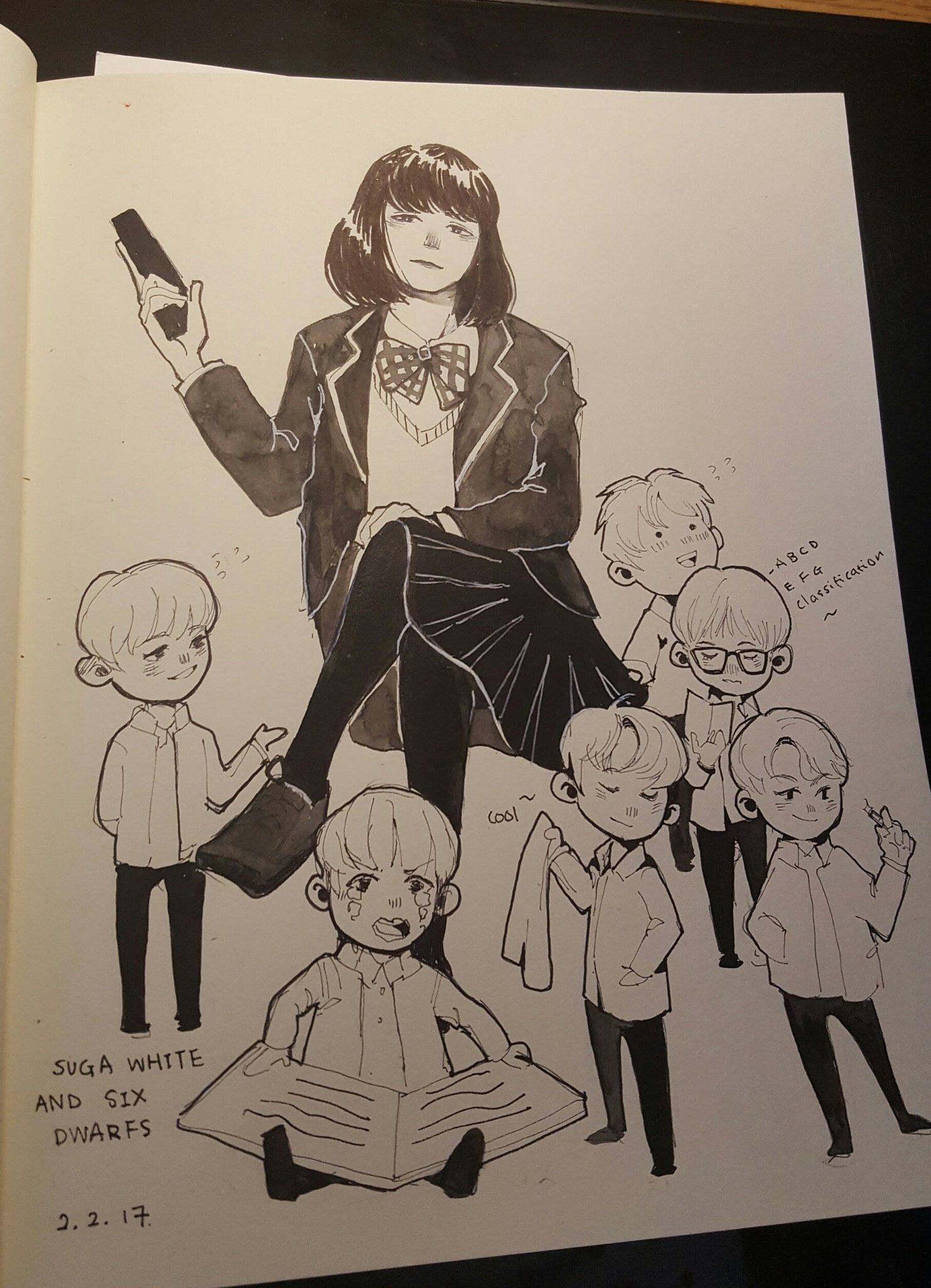 credit to the awesome artist fabxiao https://twitter.com/fabxiao min yoonji and the six dwarves