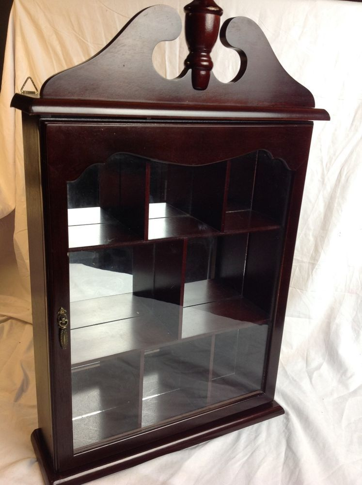 Vtg Wood Glass Mirrored Display Case Wall Mount Shelf Miniature Curio  Cabinet #Unknown