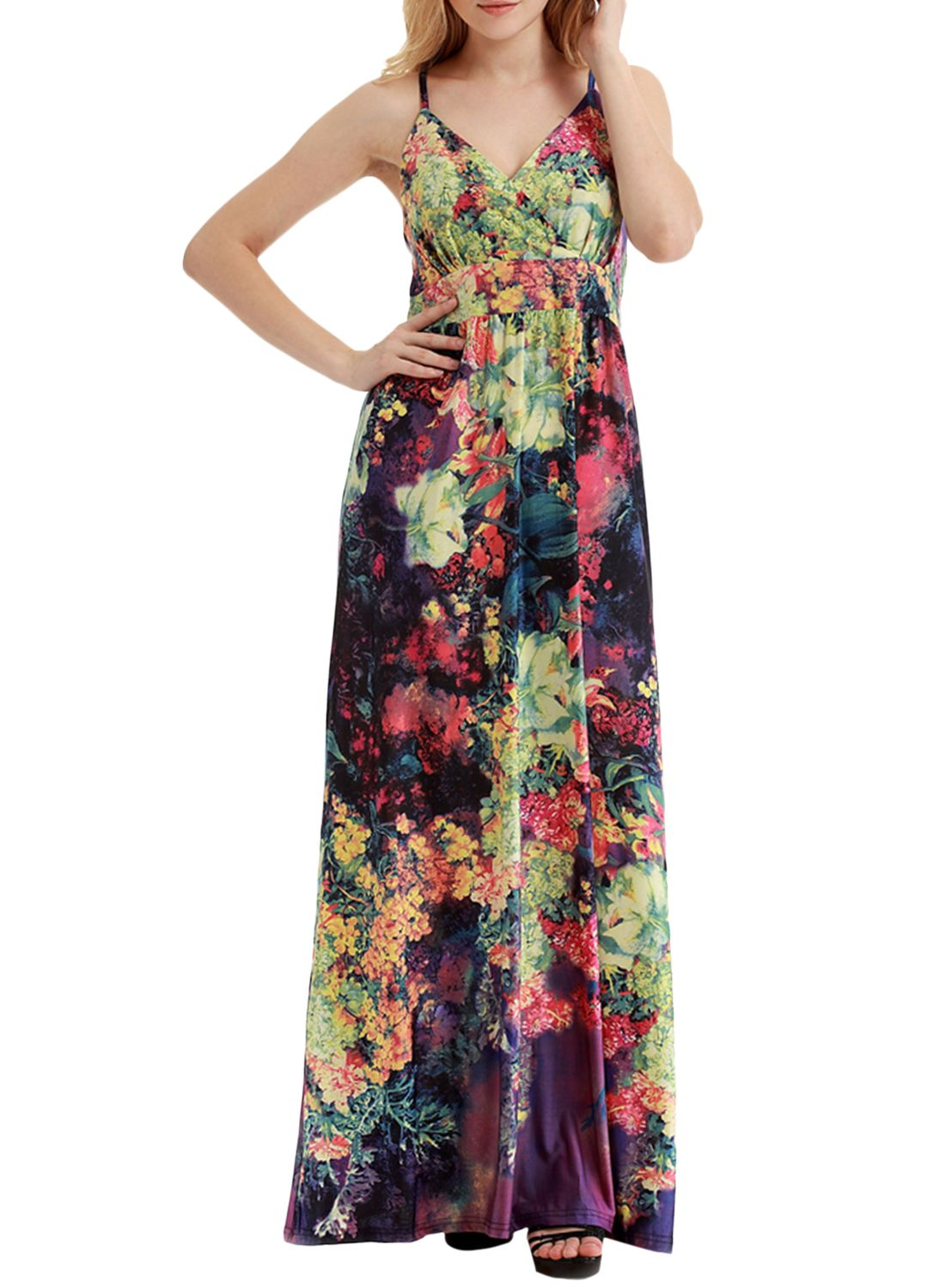 The dress is featuring spaghetti strap, v neck, pullover styling, sleeveless, floral print and ankle length.