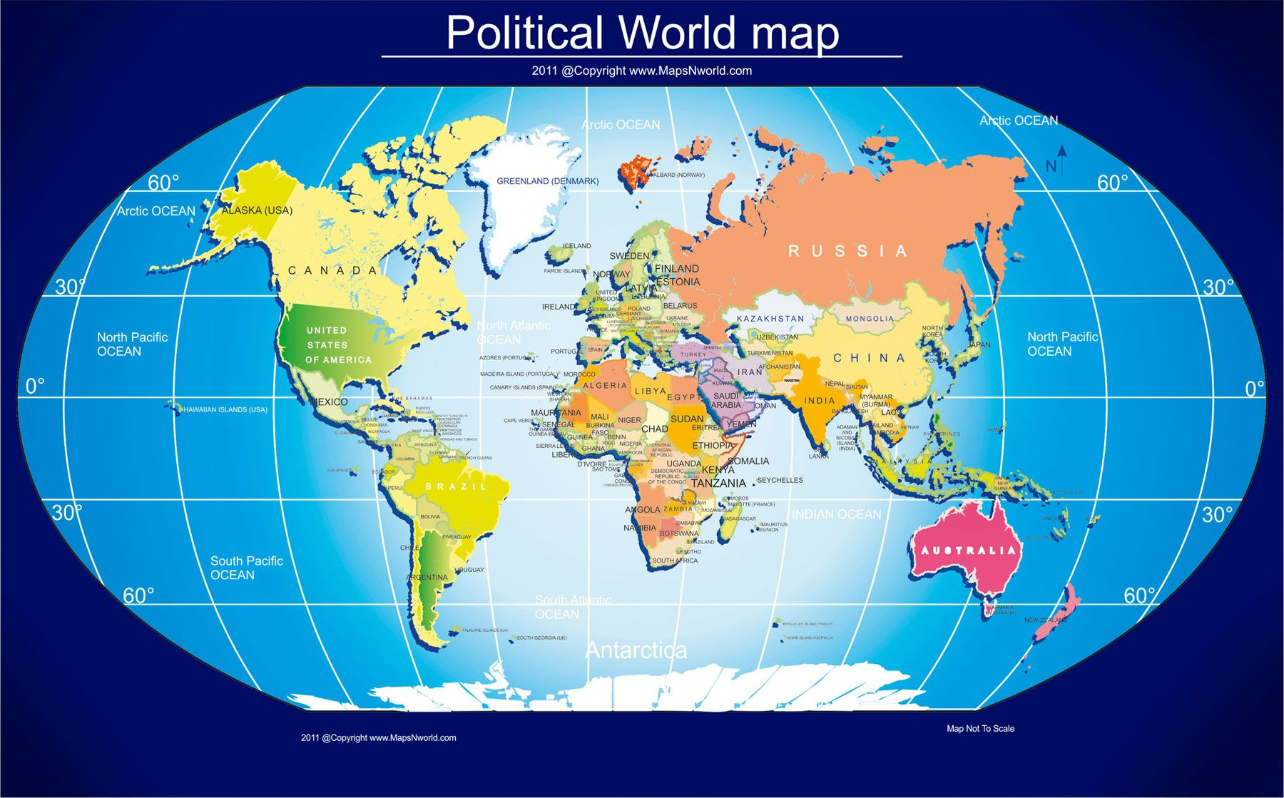 Political World Map 1800 Size