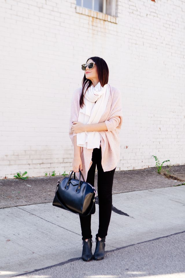 b9147eac70e Pale pink cardigan and pale pink scarf outfit on Kendi Everyday