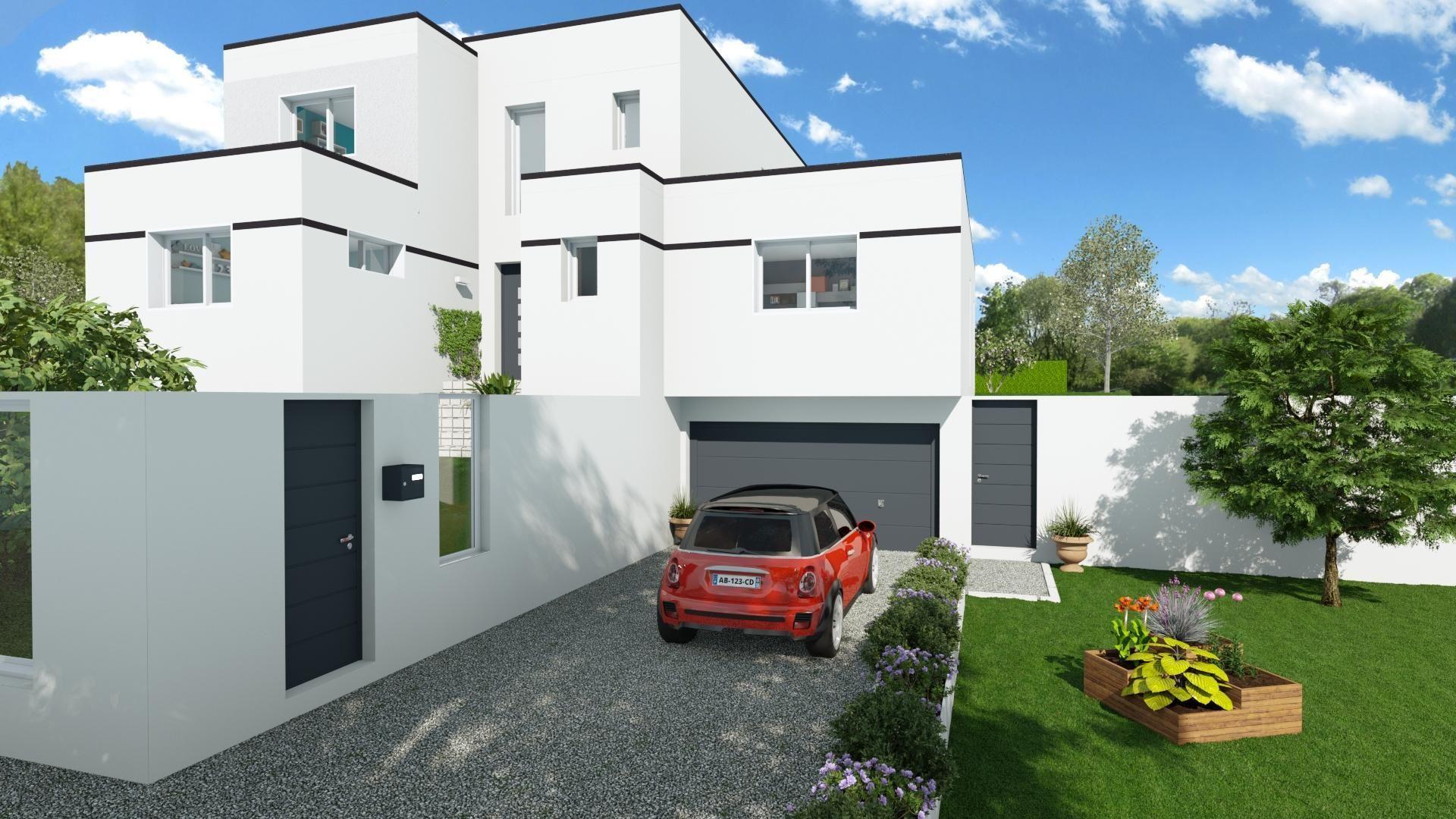 ext rieur maison d 39 architecte 3d perspective 3d extraite du logiciel d 39 aide la vente cedreo. Black Bedroom Furniture Sets. Home Design Ideas